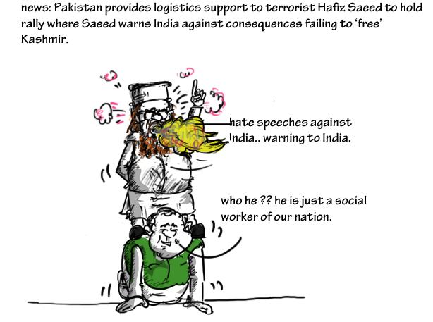 cartoon on nawaz sharif,hafiz saeed cartoon,