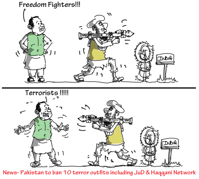 cartoon on pakistan bans jud and haqqani network terror outfits,