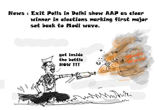 Delhi elections 2015, kejriwal cartoon, modi wave cartoon,political cartoons,