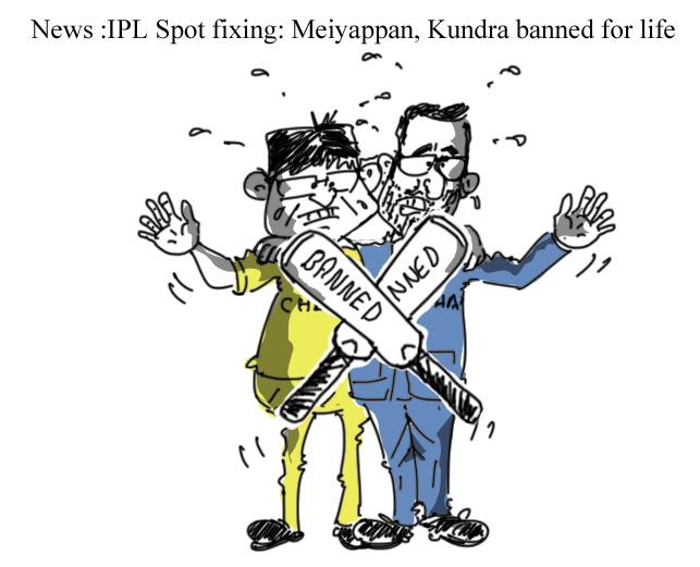ipl spot fixing cartoon, meiyappan cartoon, raj kundra cartoon,