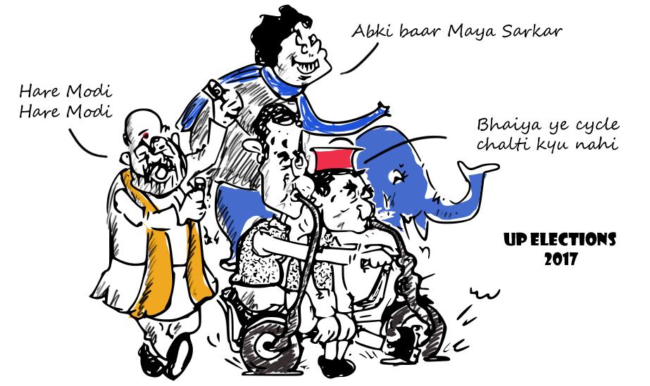 rahul gandhi cartoon, akhilesh yadav cartoon,mayawati cartoon, amit shah cartoon,