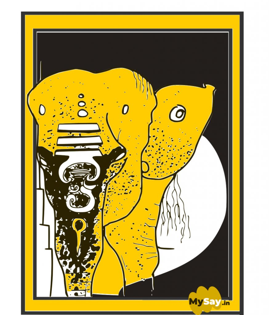 Indian elephant face doodle art , elephant doodle art,